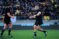 NZ's Joe Moody (left) is replaced by Karl Tu'inukuafe during the Steinlager Series international rugby match between the New Zealand All Blacks and France at Westpac Stadium in Wellington, New Zealand on Saturday, 16 June 2018. Photo: Dave Lintott / lintottphoto.co.nz