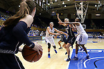 13 November 2016: Penn's Kasey Chambers (left) looks to inbound the ball to Sydney Stipanovich (13) who is defended by Duke's Rebecca Greenwell (23) and Oderah Chidom (right). The Duke University Blue Devils hosted the University of Pennsylvania Quakers at Cameron Indoor Stadium in Durham, North Carolina in a 2016-17 NCAA Division I Women's Basketball game. Duke defeated Penn 68-55.