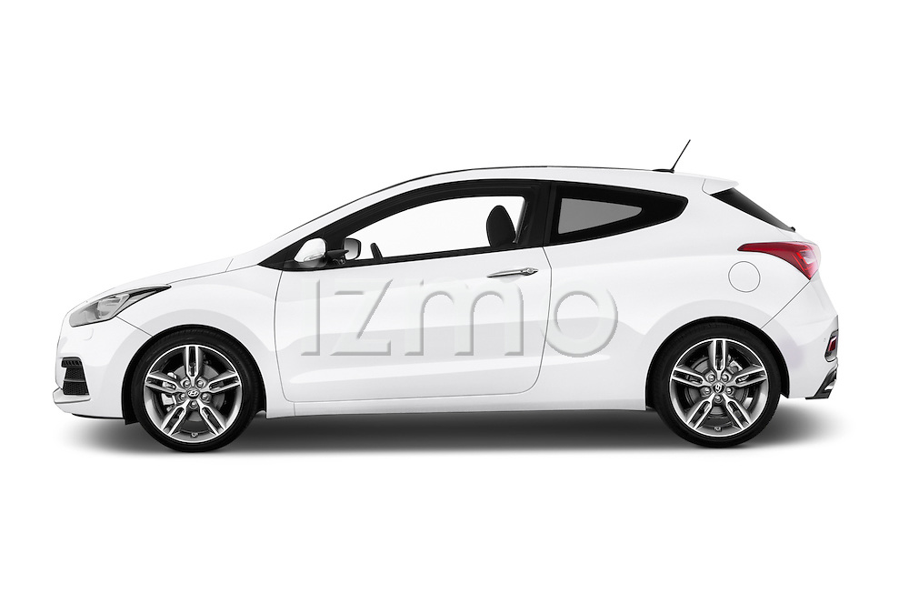 Car driver side profile view of a 2015 Hyundai I30 Turbo 3 Door Hatchback