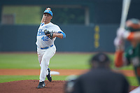 North Carolina Tar Heels starting pitcher Luca Dalatri (42) in action against the Miami Hurricanes in the second semifinal of the 2017 ACC Baseball Championship at Louisville Slugger Field on May 27, 2017 in Louisville, Kentucky. The Tar Heels defeated the Hurricanes 12-4. (Brian Westerholt/Four Seam Images)