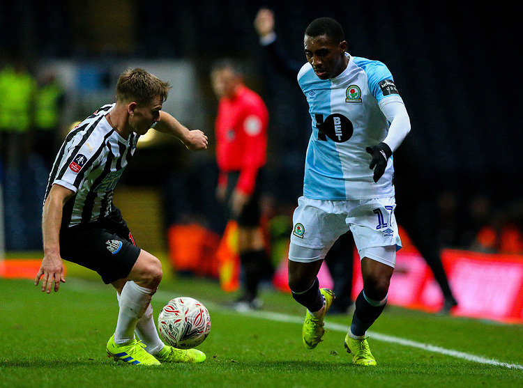Blackburn Rovers' Amari'i Bell takes on Newcastle United's Matt Ritchie<br /> <br /> Photographer Alex Dodd/CameraSport<br /> <br /> Emirates FA Cup Third Round Replay - Blackburn Rovers v Newcastle United - Tuesday 15th January 2019 - Ewood Park - Blackburn<br />  <br /> World Copyright &copy; 2019 CameraSport. All rights reserved. 43 Linden Ave. Countesthorpe. Leicester. England. LE8 5PG - Tel: +44 (0) 116 277 4147 - admin@camerasport.com - www.camerasport.com