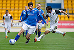 St Johnstone v Inverness Caley Thistle....07.04.12   SPL.Cillian Sheridan and Kenny Gillet.Picture by Graeme Hart..Copyright Perthshire Picture Agency.Tel: 01738 623350  Mobile: 07990 594431