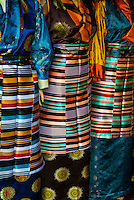 Tibetan Women's Traditional Dress apron (Paang-den) in a shop in Lhasa, Married women wear these dress aprons. Lhasa, Tibet, China.