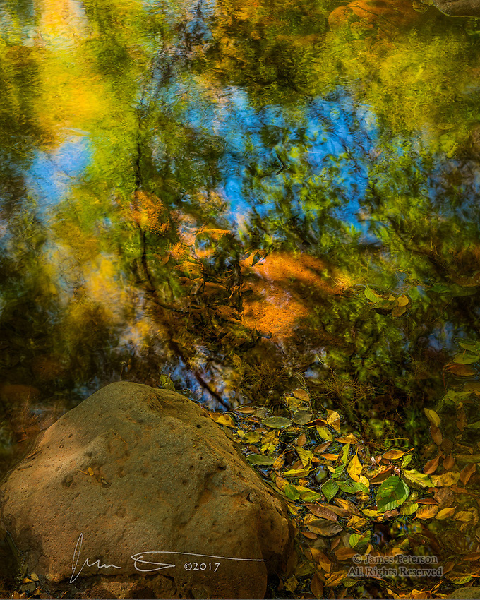 Autumn Reflection, Beaver Creek, Arizona &copy;2017 James D. Peterson.  Fall color has come and gone in the higher elevations by now, but it starts later and lasts longer here in the Verde Valley.  And it can be very captivating.<br /> <br /> The central Arizona territory in which I live is mostly considered a desert, but it is far from barren.  Creeks and washes are lined with large, deciduous trees (e.g., cottonwoods, sycamores, oaks), and they teem with wildlife.  They make elegant and serene settings in which to soak up their inherent natural beauty.<br /> <br /> My camera was irresistibly drawn to this rhapsody of floating leaves plus reflections of the trees they fell from, gently brushed with beams of sunlight filtered through the branches above.  Monet would have felt right at home here.