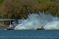 "Mark Cravens, H-202 ""Heavy Duty"" (1964 Lauterbach 7 Litre/Grand Prix hydroplane) and Dave Richardson, GP-200 ""Lauterbach Special"", (1976 Grand Prix class Lauterbach hydroplane)"