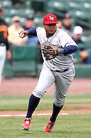 Lehigh Valley Ironpigs third baseman Ronnie Belliard #10 during the first game of a double header against the Rochester Red Wings at Frontier Field on April 14, 2011 in Rochester, New York.  Rochester defeated Lehigh Valley with a walk off home run 3-1 in the bottom of the seventh.  Photo By Mike Janes/Four Seam Images
