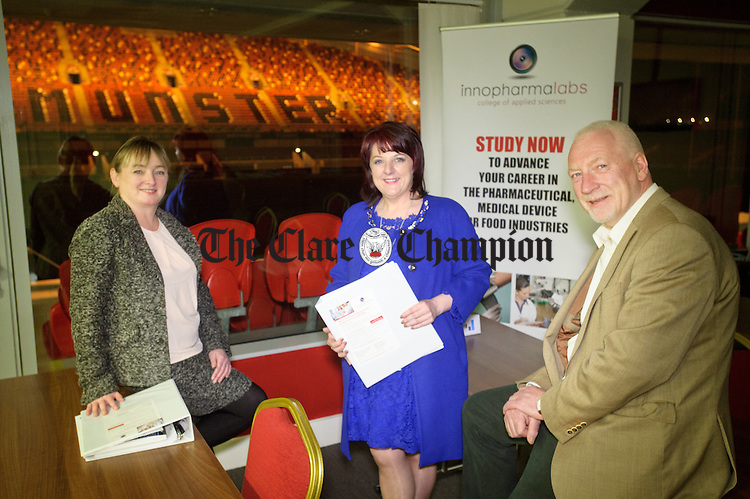 Innopharmalabs Mary Jo Parker, Business Relationship Manager, Helen Murphy, course Co-ordinator and Kevin Delaney, VP Education, pictured at Thomond Park. Photograph by John Kelly.