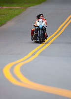 Sep 14, 2019; Mohnton, PA, USA; NHRA pro stock motorcycle rider Angelle Sampey during qualifying for the Reading Nationals at Maple Grove Raceway. Mandatory Credit: Mark J. Rebilas-USA TODAY Sports