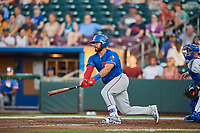 Tony Sanchez (55) of the Round Rock Express bats against the Omaha Storm Chasers at Werner Park on May 27, 2018 in Papillion , Nebraska. Round Rock defeated Omaha 8-3. (Stephen Smith/Four Seam Images)