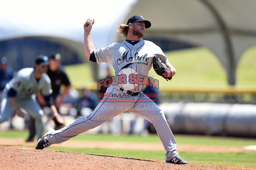 Mobile BayBears pitcher Bradin Hagens (16) delivers a pitch during a game against the Huntsville Stars on April 23, 2014 at Joe Davis Stadium in Huntsville, Tennessee.  Huntsville defeated Mobile 4-1.  (Mike Janes/Four Seam Images)