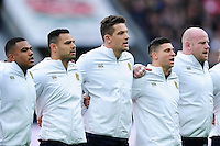 Charlie Ewels and the rest of the England team sing the national anthem prior to the match. Old Mutual Wealth Series International match between England and Fiji on November 19, 2016 at Twickenham Stadium in London, England. Photo by: Patrick Khachfe / Onside Images