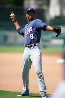 GCL Twins Tyree Davis (9) during warmups before a game against the GCL Orioles on August 11, 2016 at the Ed Smith Stadium in Sarasota, Florida.  GCL Twins defeated GCL Orioles 4-3.  (Mike Janes/Four Seam Images)