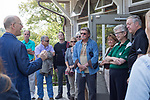 Dr. Bob Frank, the dean of the College of Arts and Sciences, gives an introduction in front of the Eclipse Company Store at the beginning of the Faculty/President Nellis Fall Orientation Tour on Sept. 10, 2017.