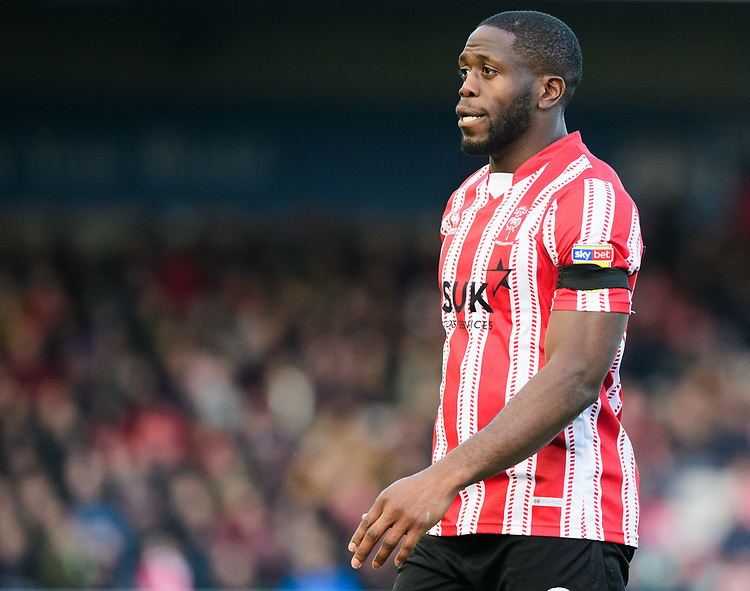 Lincoln City's John Akinde<br /> <br /> Photographer Chris Vaughan/CameraSport<br /> <br /> The EFL Sky Bet League Two - Lincoln City v Northampton Town - Saturday 9th February 2019 - Sincil Bank - Lincoln<br /> <br /> World Copyright © 2019 CameraSport. All rights reserved. 43 Linden Ave. Countesthorpe. Leicester. England. LE8 5PG - Tel: +44 (0) 116 277 4147 - admin@camerasport.com - www.camerasport.com