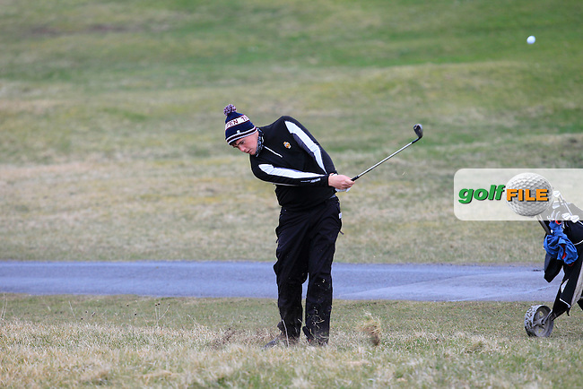 Robert Brazill (Naas) on the 3rd during the Stroke Play Round 1 of the West of Ireland Amateur Open Championship at the Co. Sligo Golf Club in Rosses Point on Friday 25th March 2016.<br /> Picture:  Golffile / Thos Caffrey