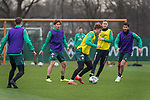 17.01.2020, Trainingsgelaende am wohninvest WESERSTADION,, Bremen, GER, 1.FBL, Werder Bremen Training ,<br /> <br /> <br />  im Bild<br /> <br /> Milot Rashica (Werder Bremen #07)<br /> Joshua Sargent (Werder Bremen #19)<br /> Niklas Moisander (Werder Bremen #18 Kapitaen)<br /> Nuri Sahin (Werder Bremen #17)<br /> <br /> Foto © nordphoto / Kokenge