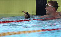 Swimming 55° Settecolli trophy Foro Italico, Rome on June 30, June 2018.<br /> Swimmer Adam Peaty, of Great Britain, celebrates after winning the men's 50 meters Breaststroke at the Settecolli swimming trophy in Rome, on June 30, 2018.<br /> UPDATE IMAGES PRESS/Isabella Bonotto