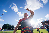Picture by Allan McKenzie/SWpix.com - 09/09/2017 - Rugby League - Betfred Super League - Hull KR v Widnes Vikings - KC Lightstream Stadium, Hull, England - Hull KR's captain Shaun Lunt celebrates to the fans after victory over Widnes which secured their place back in Super League.