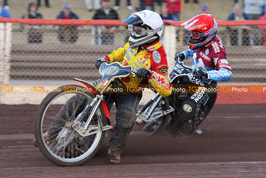 Heat 6: Lee Richardson (red) and Daniel Nermark - Lakeside Hammers vs Birmingham Brummies - Elite League Knockout Cup at Arena Essex Raceway - 10/06/11 - MANDATORY CREDIT: Gavin Ellis/TGSPHOTO - Self billing applies where appropriate - Tel: 0845 094 6026