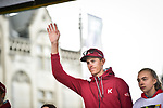 Nils Politt (GER) Team Katusha Alpecin at team presentation before the start of the 105th edition of Liège-Bastogne-Liège 2019, La Doyenne, running 256km from Liege to Liege, Belgium. 27th April 2019<br /> Picture: ASO/Gautier Demouveaux | Cyclefile<br /> All photos usage must carry mandatory copyright credit (© Cyclefile | ASO/Gautier Demouveaux)