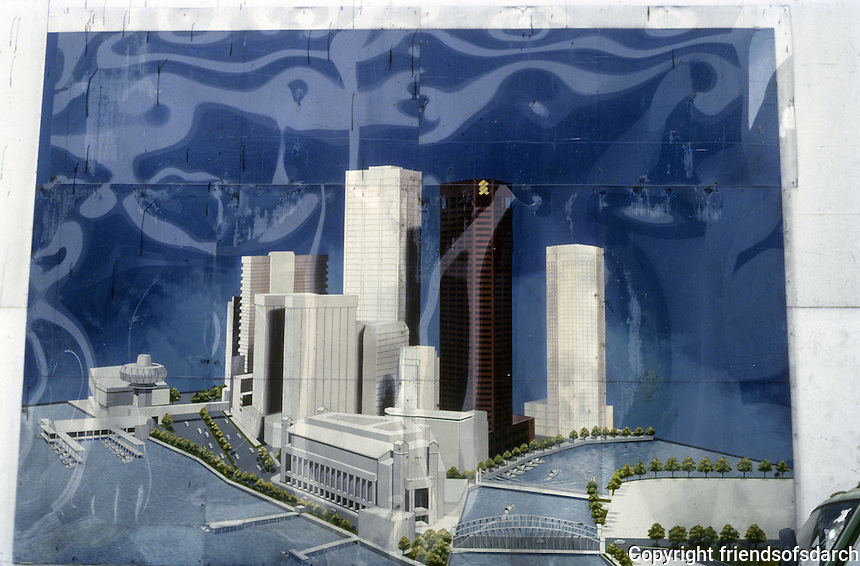 Singapore: Rendering at site--chartered bank is the dark building. Photo '83.