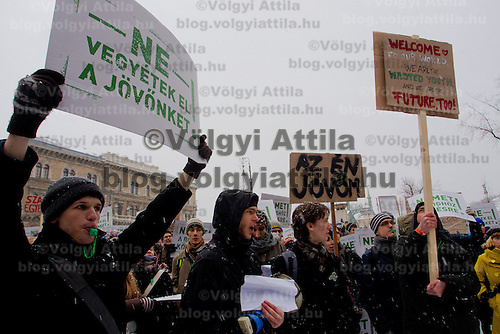 Students demonstrate against government ruling on the education system in Budapest, Hungary on February 15, 2012. ATTILA VOLGYI
