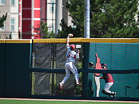 NWA Democrat-Gazette/CHARLIE KAIJO Arkansas outfielder Eric Cole (8) reaches for a home run during the second game of the NCAA super regional baseball, Sunday, June 10, 2018 at Baum Stadium in Fayetteville. Arkansas fell to South Carolina 5-8.