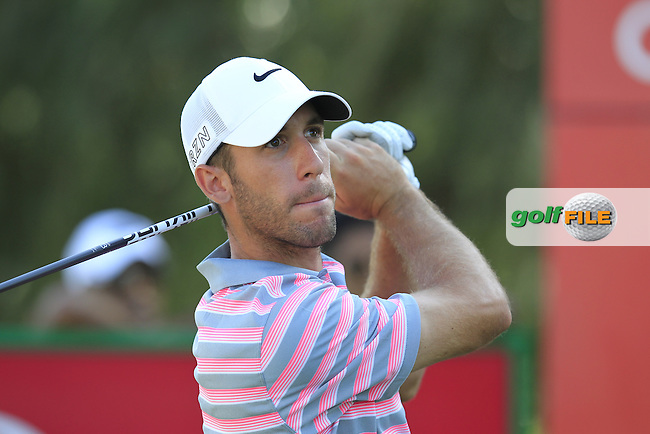 Romain Wattel, (FRA) tees off the 18th tee during Pink Friday's Round 2 of the 2015 Omega Dubai Desert Classic held at the Emirates Golf Club, Dubai, UAE.: Picture Eoin Clarke, www.golffile.ie: 1/30/2015