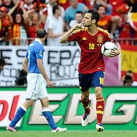 GDANSK, POLONIA, 10 JUNHO 2012 - EURO 2012 -  ESPANHA X ITALIA - Francesc Fabregas  jogador da Espanha comemora seu gol contra a Italia em jogo valido pela primeira rodada do Grupo C, na Arena de Gdansk na Polonia neste domingo, 10. (FOTO: DANIELE BUFFA / PIXATHLON / BRAZIL PHOTO PRESS.