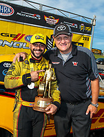 Sep 16, 2018; Mohnton, PA, USA; NHRA funny car driver J.R. Todd (left) celebrates with crew member Chad Head after winning the Dodge Nationals at Maple Grove Raceway. Mandatory Credit: Mark J. Rebilas-USA TODAY Sports