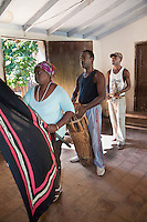 Cuba, Trinidad.  Afro-Cubans Performing an Afro-Cuban Religious Ceremony of Congolese Origin.