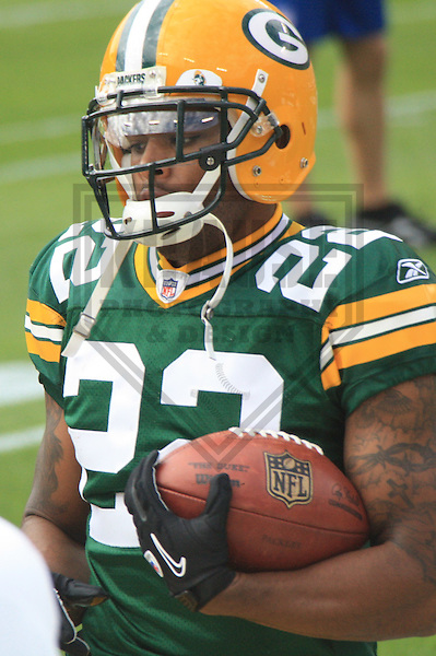 GREEN BAY - SEPTEMBER 2010: Pat Lee (22) of the Green Bay Packers during a game on September 19, 2010 at Lambeau Field in Green Bay, Wisconsin. (Photo by Brad Krause)