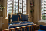 Side altar in parish church of Saint Sampson in the Saxon town of Cricklade, Wiltshire, England, UK