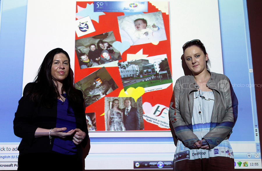 "***NO FEE PIC***.27/09/2011.(L to r) Tanya Ward Deputy Directro ICCL Irish Counci lfor Civl Liberties &.Clare King from Kiltimagh who recieved 2nd prize beside her piece on Social injustice in the Irish Welfare System .during a "" Your Rights Right now""/ Youthreach competition prizegiving award ceremony at the Office of the Ombudsman for Children, Dublin. The competition called on young Youthreach students to express themselves about the important human rights issues affecting their lives..Photo: Gareth Chaney Collins"
