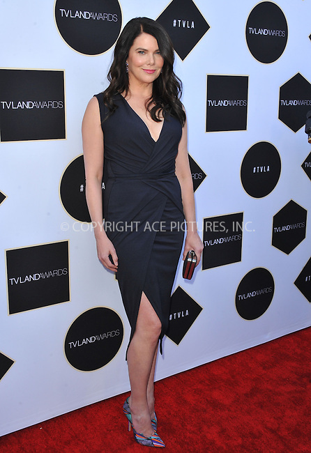 WWW.ACEPIXS.COM<br /> <br /> April 11 2015, LA<br /> <br /> Actress Lauren Graham arriving at the 2015 TV Land Awards at the Saban Theatre on April 11, 2015 in Beverly Hills, California.<br /> <br /> By Line: Peter West/ACE Pictures<br /> <br /> <br /> ACE Pictures, Inc.<br /> tel: 646 769 0430<br /> Email: info@acepixs.com<br /> www.acepixs.com