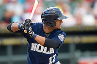 New Orleans Zephyrs third baseman Donovan Solano (17) at bat during the Pacific Coast League baseball game against the Round Rock Express on June 30, 2013 at the Dell Diamond in Round Rock, Texas. Round Rock defeated New Orleans 5-1. (Andrew Woolley/Four Seam Images)