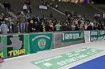 Visiting fans applauding their defeated team following Hertha Berlin's match against Sporting Lisbon in the Olympic Stadium in Berlin in a UEFA Europa League group match. Hertha won the match by 1 goal to nil to press to the knock-out round of the cup. 2009/10 was the the first year in which the Europa League replaced the UEFA Cup in European football competition.