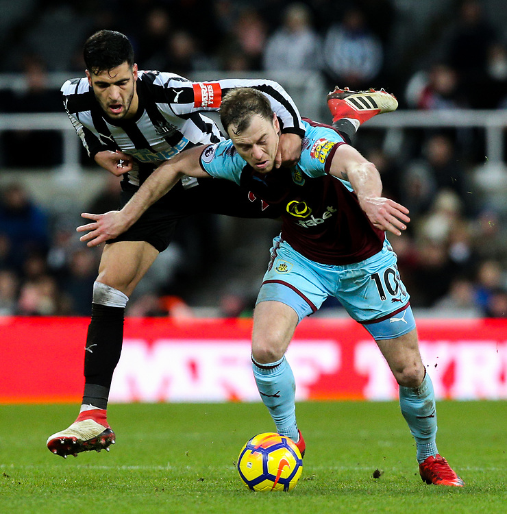 Newcastle United's Mikel Merino challenges Burnley's Ashley Barnes<br /> <br /> Photographer Alex Dodd/CameraSport<br /> <br /> The Premier League - Newcastle United v Burnley - Wednesday 31st January 2018 - St James' Park - Newcastle<br /> <br /> World Copyright &copy; 2018 CameraSport. All rights reserved. 43 Linden Ave. Countesthorpe. Leicester. England. LE8 5PG - Tel: +44 (0) 116 277 4147 - admin@camerasport.com - www.camerasport.com
