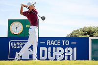 Haotong Li (CHN) during the 1st round of the 2017 Portugal Masters, Dom Pedro Victoria Golf Course, Vilamoura, Portugal. 21/09/2017<br /> Picture: Fran Caffrey / Golffile<br /> <br /> All photo usage must carry mandatory copyright credit (&copy; Golffile | Fran Caffrey)