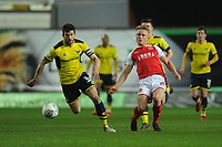 Fleetwood Town's Kyle Dempsey under pressure from Oxford United's John Mousinho<br /> <br /> Photographer Kevin Barnes/CameraSport<br /> <br /> The EFL Sky Bet League One - Oxford United v Fleetwood Town - Tuesday 10th April 2018 - Kassam Stadium - Oxford<br /> <br /> World Copyright &copy; 2018 CameraSport. All rights reserved. 43 Linden Ave. Countesthorpe. Leicester. England. LE8 5PG - Tel: +44 (0) 116 277 4147 - admin@camerasport.com - www.camerasport.com