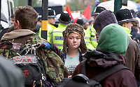 Young Anarchists Broad Street, Birmingham on the Right To Work Demo, before the Police, Kettle at Five Ways, 3rd Oct 2010