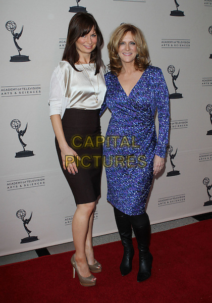 "MARY LYNN RAJSKUB & CAROL LEIFER .The Academy of Television Arts & Sciences presents ""A Conversation With Ladies Who Make Us Laugh.""  Held At The Leonard H. Goldenson Theatre, Los Angeles, California, USA, .16th May 2011..full length top skirt  black pencil brown high waisted  tucked in  gold peep toe shoes platform necklace silver  white blue wrap dress print knee high boots .CAP/ADM/KB.©Kevan Brooks/AdMedia/Capital Pictures."