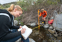 Occidental College students measure stream depth and flow in Eaton Canyon as part of adjunct assistant professor Ann Blythe's geomorphology class on March 7, 2013. (Photo by Marc Campos, Occidental College Photographer)