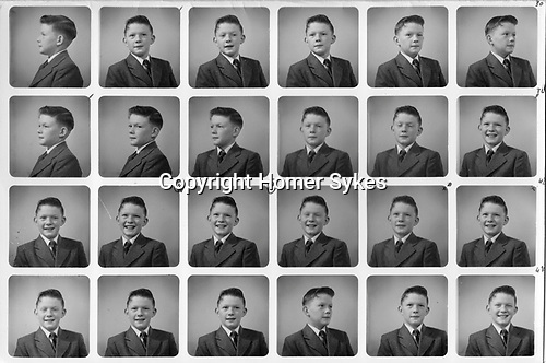 PolyPhoto 1960 of Birmingham schoolboy aged 11 yrs new school uniform. Typically there would be 48 small portraits. This is half a sheet.