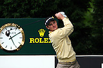 Justin Rose looks anxiously at his tee shot on 18 in the third round of the BMW PGA Championship on the 26th of May 2007 at the Wentworth Golf Club, Surrey, England. (Photo by Manus O'Reilly/NEWSFILE)