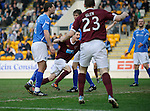 St Johnstone v Hearts....24.03.12   SPL.Jason Holt celebrates his goal.Picture by Graeme Hart..Copyright Perthshire Picture Agency.Tel: 01738 623350  Mobile: 07990 594431