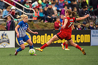Allston, MA - Sunday, May 1, 2016:  Boston Breakers midfielder McCall Zerboni (77) and Portland Thorns FC midfielder Lindsey Horan (7) in a match at Harvard University.