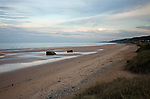 Omaha Beach at sunset, site of Allied landing on June 6, 1944, Normandy, France.