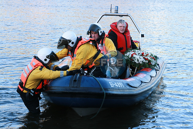 Blessed Wreath is placed in the water at the Remembrance Service for those lost in rivers around Ireland...Photo NEWSFILE/Jenny Matthews.(Photo credit should read Jenny Matthews/NEWSFILE)....This Picture has been sent you under the condtions enclosed by:.Newsfile Ltd..The Studio,.Millmount Abbey,.Drogheda,.Co Meath..Ireland..Tel: +353(0)41-9871240.Fax: +353(0)41-9871260.GSM: +353(0)86-2500958.email: pictures@newsfile.ie.www.newsfile.ie.FTP: 193.120.102.198.