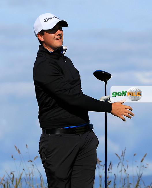 Colm Campbell Jnr. (Warrenpoint) on the 4th tee during Round 3 of Matchplay in the North of Ireland Amateur Open Championship at Portrush Golf Club, Portrush on Thursday 14th July 2016.<br /> Picture:  Thos Caffrey / www.golffile.ie